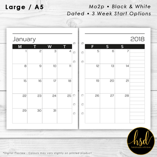 Month on 2 pages | A5 Planner Insert | Black & White | Multiple Layout Options
