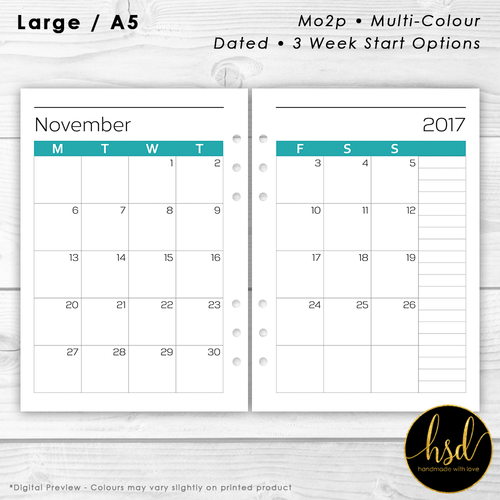 Month on 2 pages | A5 Planner Insert | Multi-Colour | Multiple Layout Options