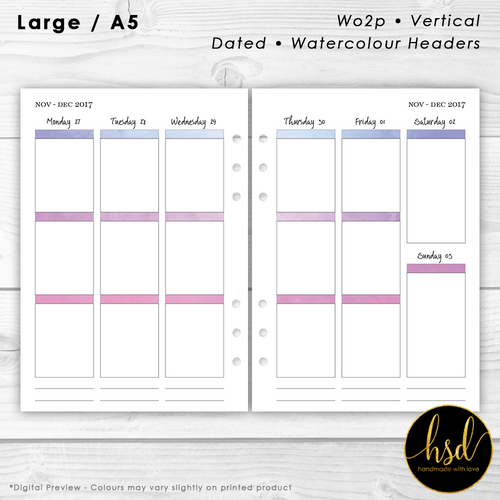 Week on 2 pages | A5 Planner Insert | Vertical - Watercolour Headers | Multiple Layout Options