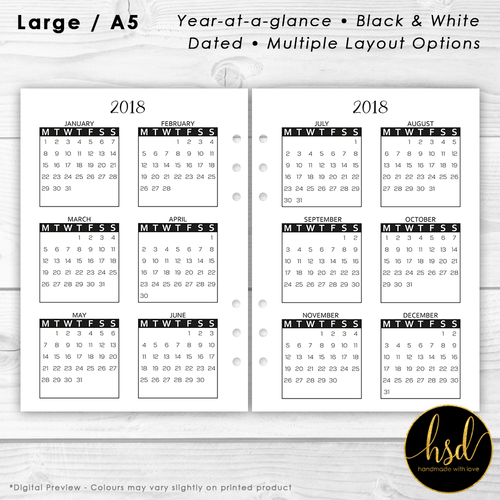 Year-at-a-Glance | A5 Planner Insert | Black & White | Multiple Layout Options