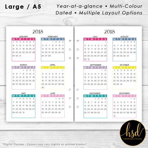 Year-at-a-Glance | A5 Planner Insert | Multi-Colour | Multiple Layout Options