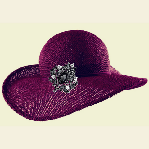 Purple hat with brooch - prettyfancythings.com