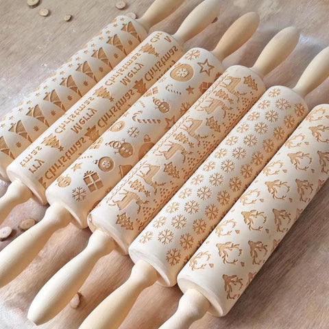Christmas Wooden Pastry Roller