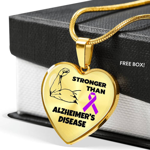 Stronger Than Alzheimer's Heart Necklace