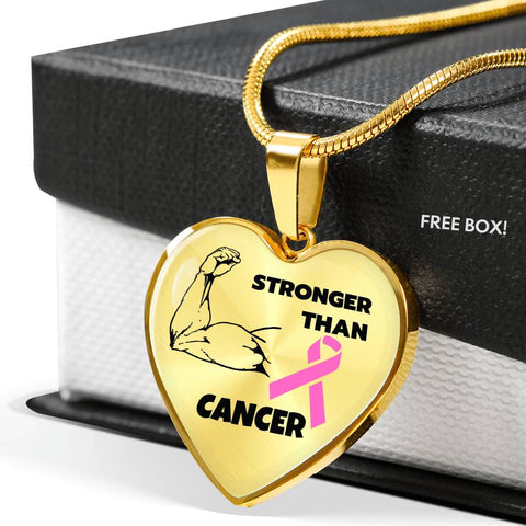 Stronger Than Cancer Heart Necklace