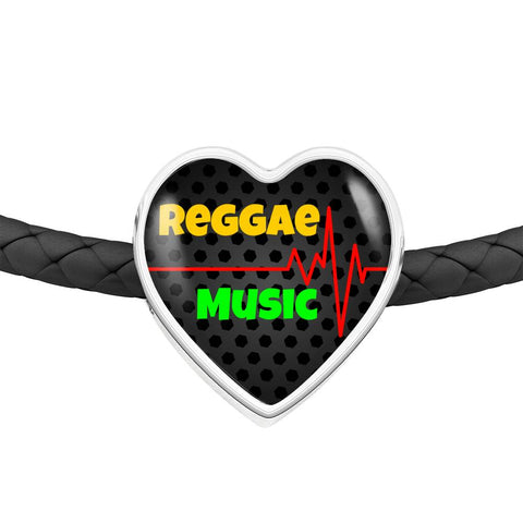 Reggae Music Is My Heartbeat Leather Bracelet