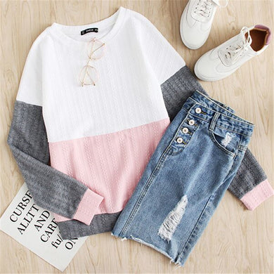 Pink Block Sweater
