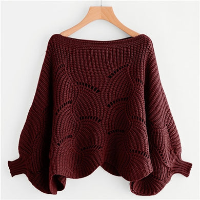 Batwing Sleeve Burgundy Sweater NEW