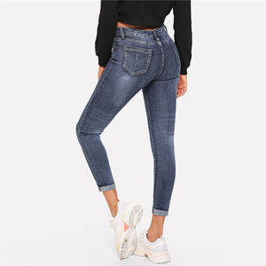 Women's skinny blue 2019 New Spring jeans , new Spring denim fashion for ladies ,  blue jeans skinnies