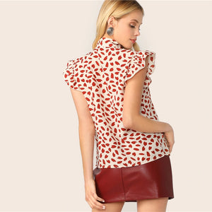 Red Petal Print Top Blouse NEW