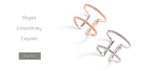 Elegant and adjustable rings with crystals