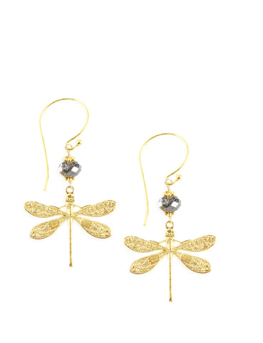Dragonfly earrings with Black Diamond Swarovski crystals - Dige Designs