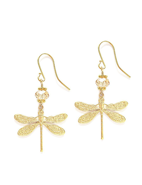 Goldplated dragonfly earrings with Swarovski crystals