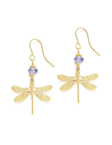 Dragonfly earrings with Tanzanite Swarovski crystals - Dige Designs