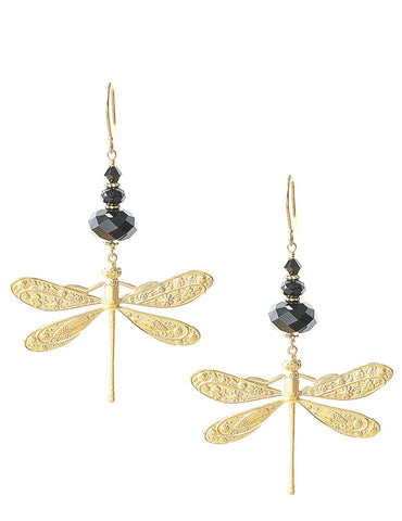 Dragonfly earrings with Black Swarovski crystals - Dige Designs