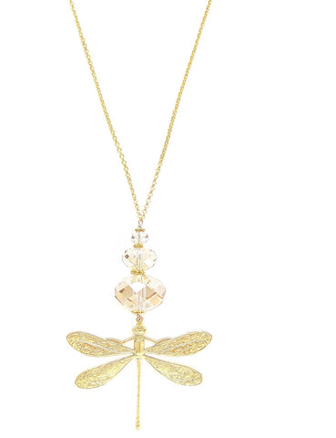 Long dragonfly necklace with Swarovski crystals - Dige Designs