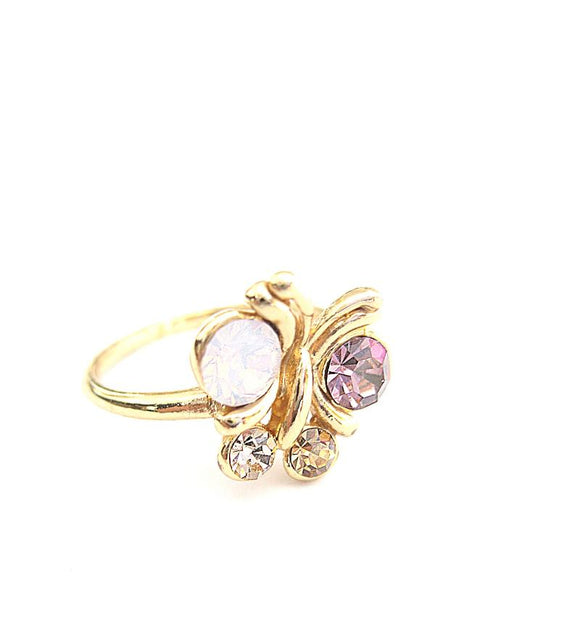 Goldplated butterfly ring with Swarovski crystals - Dige Designs