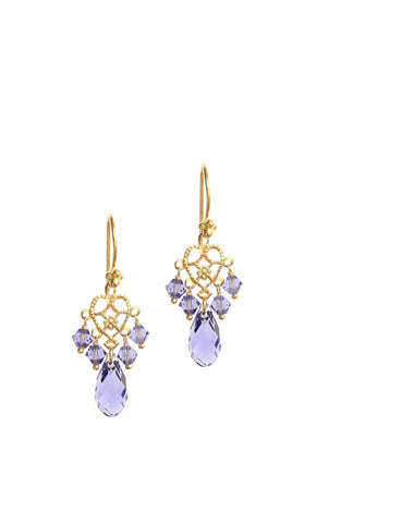 Goldplated earrings with Tanzanite Swarovski crystals - Dige Designs