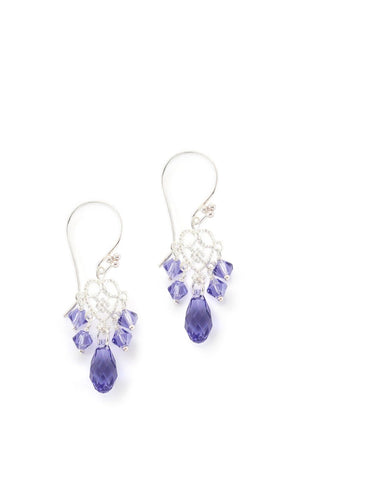 Silver earrings with Tanzanite Swarovski crystals - Dige Designs