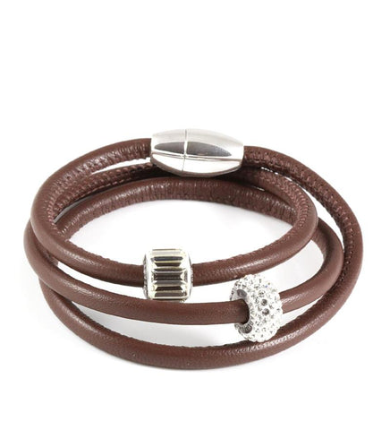 Brown triple wrap leather bracelet with Swarovski crystals - Dige Designs