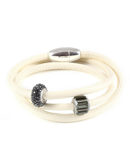 Ivy triple wrap leather bracelet with Swarovski crystals - Dige Designs