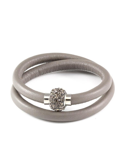 Grey double wrap leather bracelet with Swarovski crystals - Dige Designs