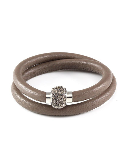Taupe double wrap leather bracelet with Swarovski crystals - Dige Designs