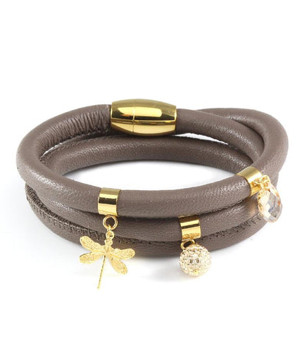Taupe triple wrap leather bracelet with dragonfly and Swarovski crystals - Dige Designs