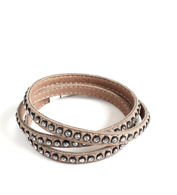 Beige triple wrap leather bracelet with Swarovski crystals - Dige Designs