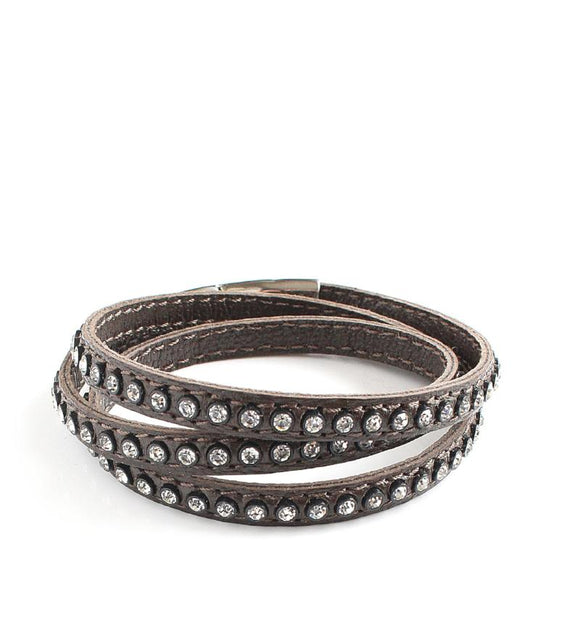 Dark Brown triple wrap leather bracelet with Swarovski crystals - Dige Designs