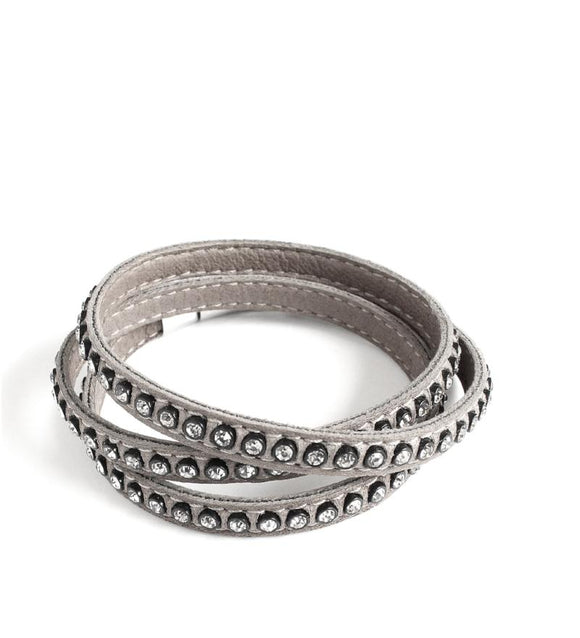Grey triple wrap leather bracelet with Swarovski crystals - Dige Designs