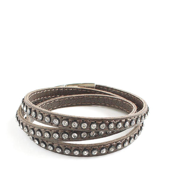 Taupe triple wrap leather bracelet with Swarovski crystals - Dige Designs