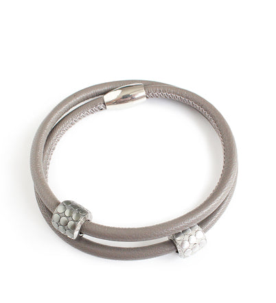 Grey double-twisted leather bracelet with Swarovski elements - Dige Designs