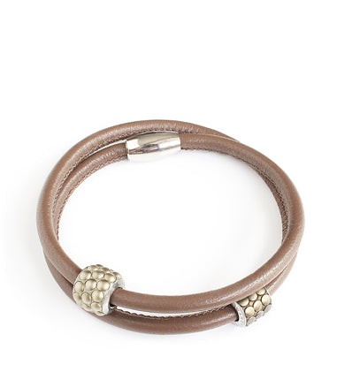 Taupe double-twisted leather bracelet with Swarovski elements - Dige Designs