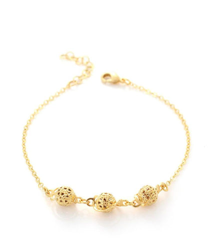 Goldplated ball bracelet - Dige Designs
