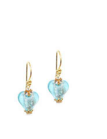 Earrings with Light Blue Murano glass hearts - Dige Designs