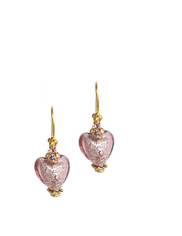 Earrings with Old Rose Murano glass hearts - Dige Designs
