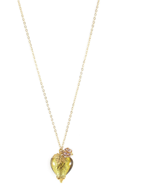 Long necklace with Olive Murano heart and Swarovski crystal ball - Dige Designs