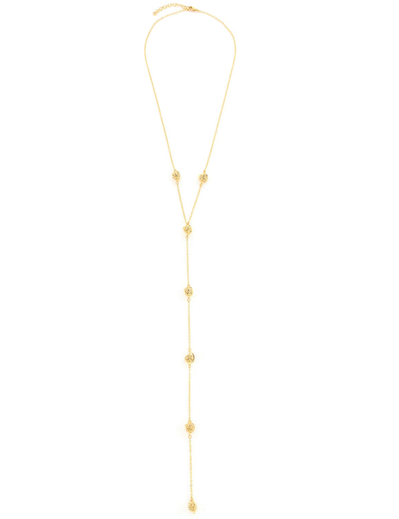 Long goldplated ball necklace - Dige Designs