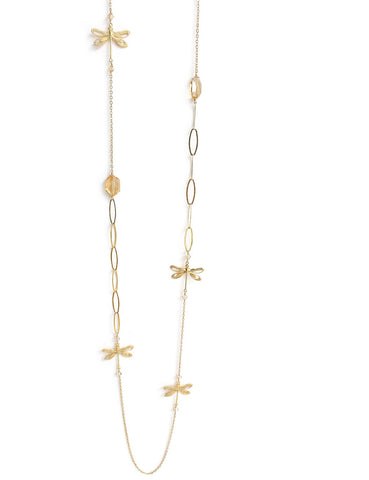 Long necklace with dragonflies and Swarovski crystals - Dige Designs