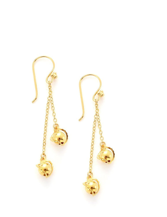 Goldplated earrings with ball pendants