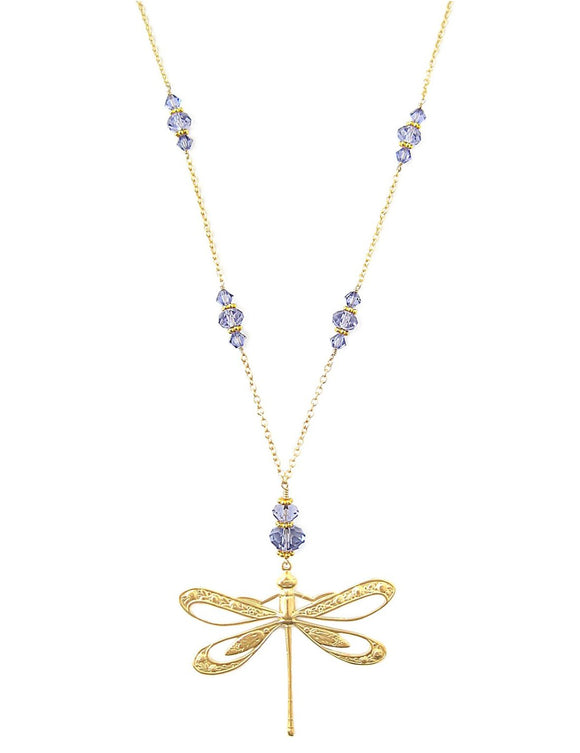Long dragonfly necklace with Tanzanite Swarovski crystals - Dige Designs