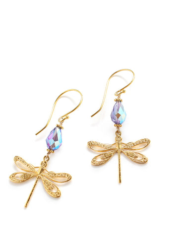 Dragonfly earrings with Tanzanite Swarovski crystal drops