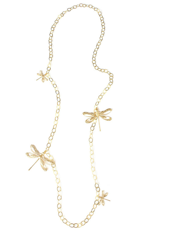 Long goldplated necklace with dragonflies - Dige Designs