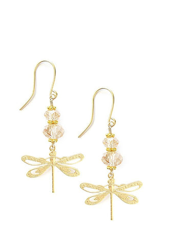 Goldplated dragonfly earrings with Swarovski crystals - Dige Designs