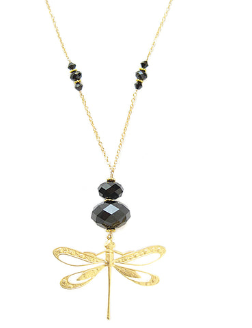 Long dragonfly necklace with Black Swarovski crystals - Dige Designs