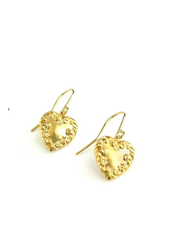 Dige Designs gold plated heart earrings