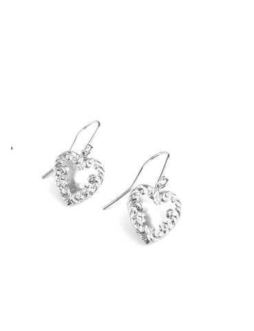Silver heart earrings - Dige Designs