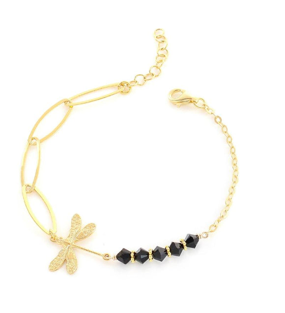 Goldplated dragonfly bracelet with Swarovski crystals - Dige Designs