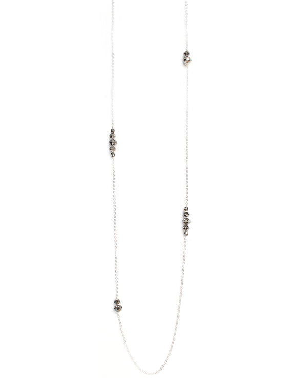 Long necklace with Black Diamond Swarovski crystals - Dige Designs